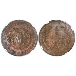 Culiacan, Sinaloa (State), Mexico, copper 1/4 real, 1859, encapsulated NGC MS 62 BN.