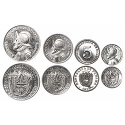 Lot of four (unauthorized) Panama proofs of 1993, all ex-Richard Stuart: silver-clad 1/2 balboa; cop