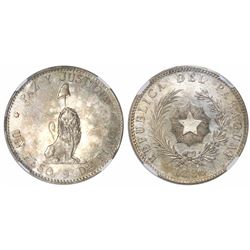 Paraguay (struck in Buenos Aires), 1 peso, 1889, encapsulated NGC AU 55.