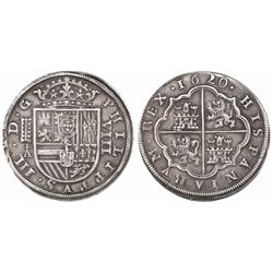 Segovia, Spain, milled 8 reales, Philip III, 1620, assayer cross-topped A.