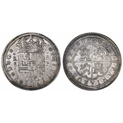 Seville, Spain, milled 8 reales, Philip V, 1728P.