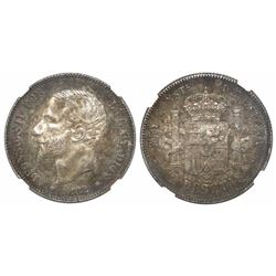 Madrid, Spain, 2 pesetas, Alfonso XII, 1882MS-M, with 18-82 inside stars, encapsulated NGC MS 63.