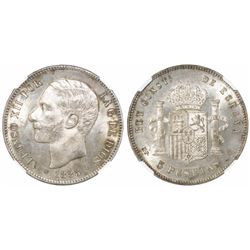 Madrid, Spain, 5 pesetas, Alfonso XII (struck in the reign of Alfonso XIII), 1885MP-M, with 18-87 in