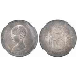 Madrid, Spain, 5 pesetas, Alfonso XIII (infant bust), 1891PGM with 18-91 inside stars, encapsulated