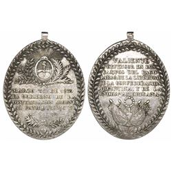 Argentina, oval silver military medal, 1839, Battle of Pago Largo, Cunietti Plate Medal, rare.