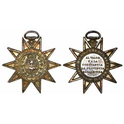 Buenos Aires, Argentina, star silver military medal, ca. 1865-1869, Paraguay Campaign.