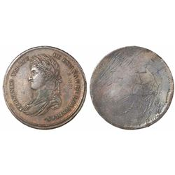Chile (under Spain), copper test strike for an allied Indian medal, Ferdinand VII, ca. 1814, unique.
