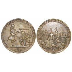 Great Britain, copper-alloy medal, Admiral Vernon, 1741, Cartagena, portraits of Vernon (standing) a