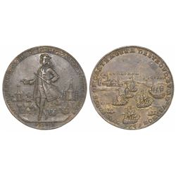 Great Britain, copper-alloy medal, Admiral Vernon, 1741, Cartagena, full standing portrait of Vernon