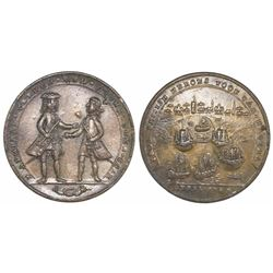 Great Britain, copper-alloy medal, Admiral Vernon, 1741, Cartagena, full standing portraits of Ogle