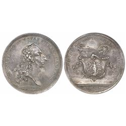 Mexico City, Mexico, silver proclamation medal, Charles III, 1760, Archbishop of Mexico, encapsulate
