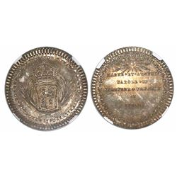 Campeche, Mexico, silver 1-real sized proclamation medal, Charles IV, 1790, encapsulated NGC MS 64.