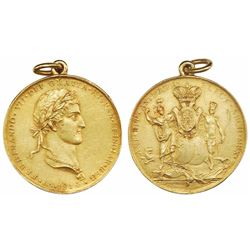 Mexico City, Mexico, cast gold proclamation medal, Ferdinand VII, 1814, Archbishop of Mexico, reesta