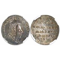 Zaragoza, Spain, silver proclamation medal, Ferdinand VI, 1746, encapsulated NGC MS 61, finest and o
