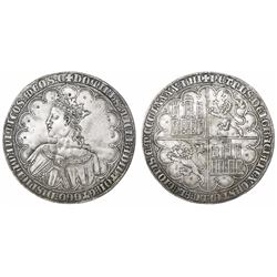 Modern (late 1800s?) struck-silver copy of a Spanish (Castile and Leon) gold dobla de 10 doblas of P