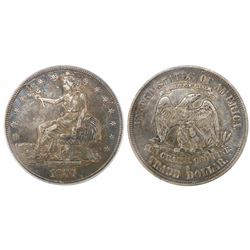 USA (San Francisco mint), $1 seated Liberty (trade dollar), 1877-S, encapsulated PCGS XF 40.