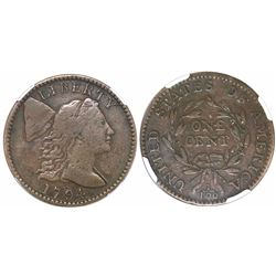 USA (Philadelphia mint), one cent Flowing Hair, 1794, head of 1795, S-72, encapsulated NGC F 12 BN.