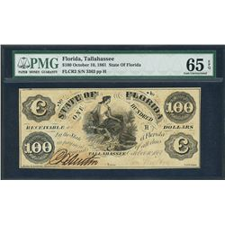 Tallahassee, Florida, State of Florida, $100, 10-10-1861, certified PMG Gem UNC 65 EPQ.