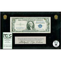 USA, $1 silver certificate, series 1935E, certified PCGS Grade A, from the Andrea Doria (1956).