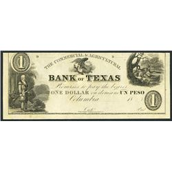 Columbia, Texas (Mexico), Commercial and Agricultural Bank of Texas (Coahuila), remainder 1 peso / d