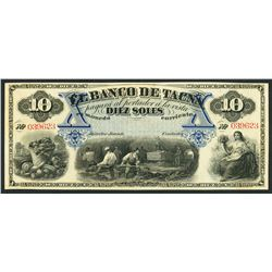 Tacna, Peru, Banco de Tacna, remainder 10 soles, ND (1870s).