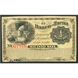 Tacna, Peru, Banco de Tacna, remainder 1/2 sol, ND (1870s)