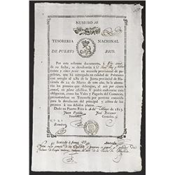 Puerto Rico, National Treasury, 25 pesos promissory note, 1813.