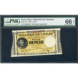 Puerto Rico, Ministerio de Ultramar, 1 peso, 17-8-1895, with partial counterfoil, certified PMG Gem