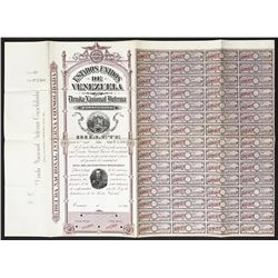 Caracas, Venezuela, specimen 2,500 bolivares six-percent national debt coupon bond, 1896.