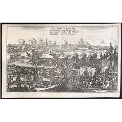 "English copperplate engraving entitled ""The Battel Between the Spaniards and the pyrats or Buccanier"