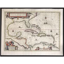 Large copperplate-engraved Dutch map of the Caribbean by Blaeu, ca. 1662, hand colored.