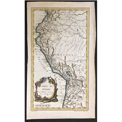 French copperplate-engraved map of Peru by Jacques Nicolas Bellin (1753), engraved by Robert Benard,