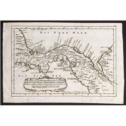 German copperplate-engraved map of Panama by Jacques Nicolas Bellin (1754), reprint ca. 1758.