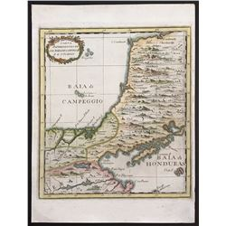 Italian copperplate-engraved map of the Bay of Campeche and the Yucatan peninsula for Marco Coltelli