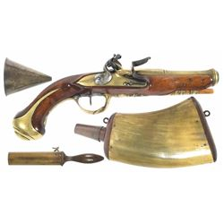 French flintlock pistol, ca. 1780, with period wood and horn powder flask, brass powder funnel, and