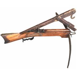 Early German crossbow with original pushing lever, 1700s.