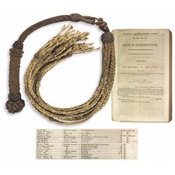 "Handmade ""cat of nine tails"" with copy of House of Representatives 1848 list of seamen, their offens"