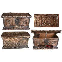 Spanish colonial carved money chest,1600s.