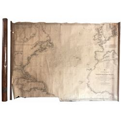 Large cloth-backed paper nautical chart dated 1862 with handmade copper case.