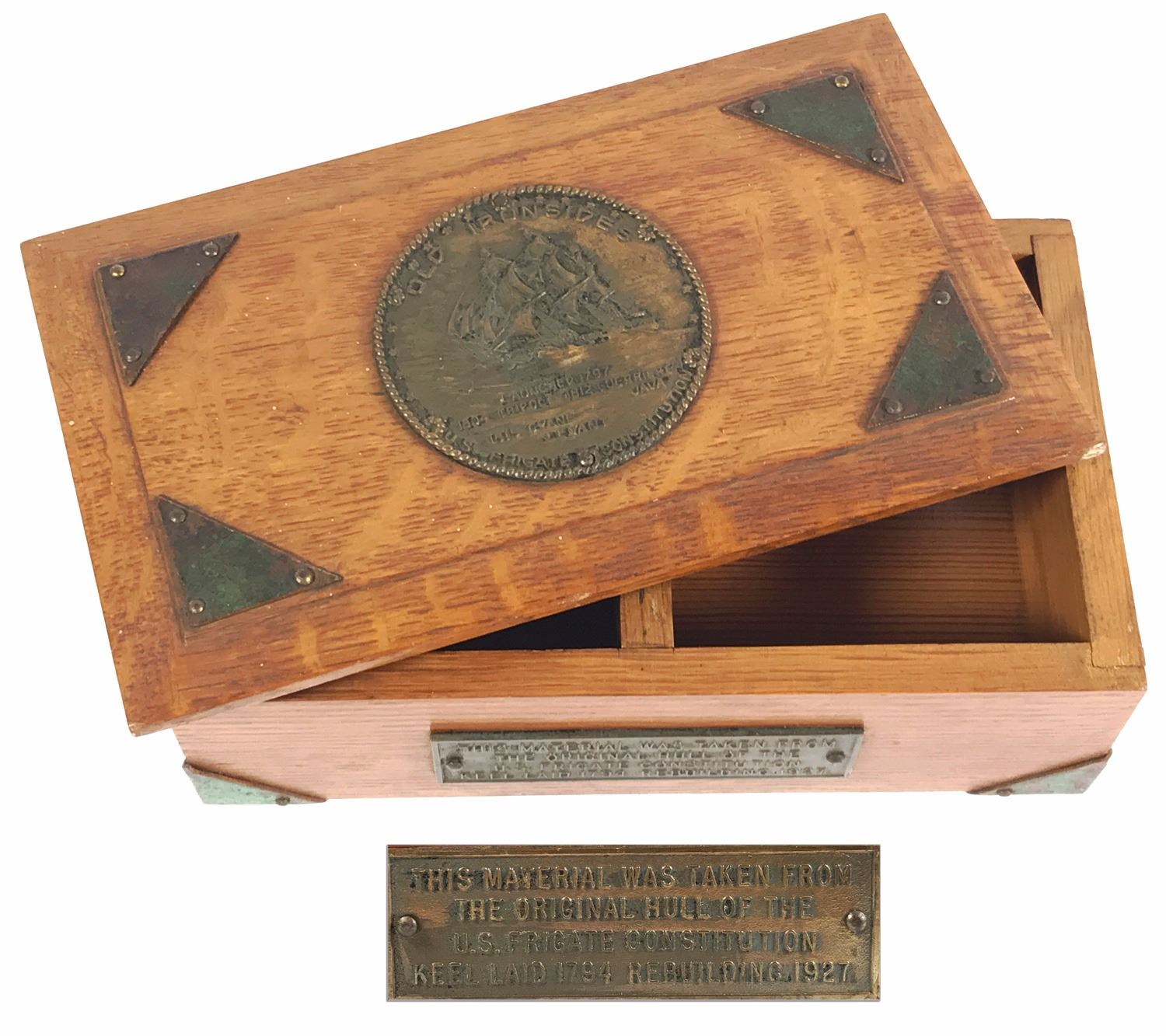 Oak wood box with plaque made from pieces of the uss