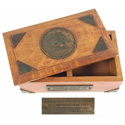 Oak wood box (with plaque) made from pieces of the USS Constitution.