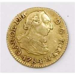 Madrid, Spain, bust 1/2 escudo, Charles III, 1784JD.