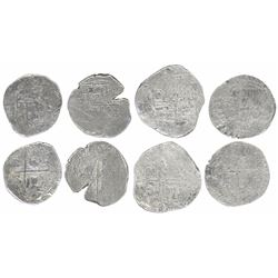 Lot of four Potosi, Bolivia, shield-type cob 1R, Philip II through IV (early 1600s), assayers not vi