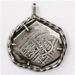 Mexico City, Mexico, cob 4 reales, Charles II, assayer not visible, mounted in sterling silver penda