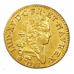 France (Lyon mint), gold louis d'or, Louis XV, 1723-D.