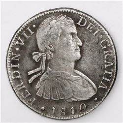 """Mexico City, Mexico, bust 8 reales, Ferdinand VII transitional (""""armored"""" bust), 1810HJ."""