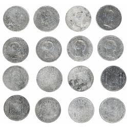 Lot of eight Madrid, Spain, 20 reales, Isabel II, dated 1849-55.