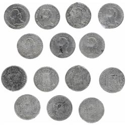 Lot of seven Spanish 10 reales of Isabel II dated 1843-54, mints of Madrid and Seville.