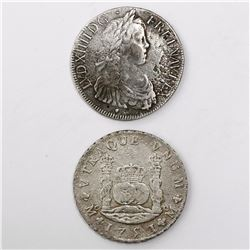 Lot of two crown-sized coins from unidentified wrecks: Toulouse, France, ecu, Louis XIV, 1647; Mexic
