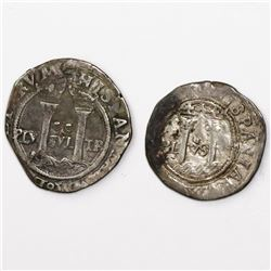 """Lot of two Mexico City, Mexico, minors (2R and 1R) of Charles-Joanna, """"Late Series,"""" assayer O."""